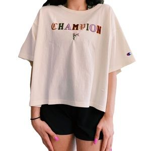 CHAMPION HAND EMBROIDERED TEE NWT